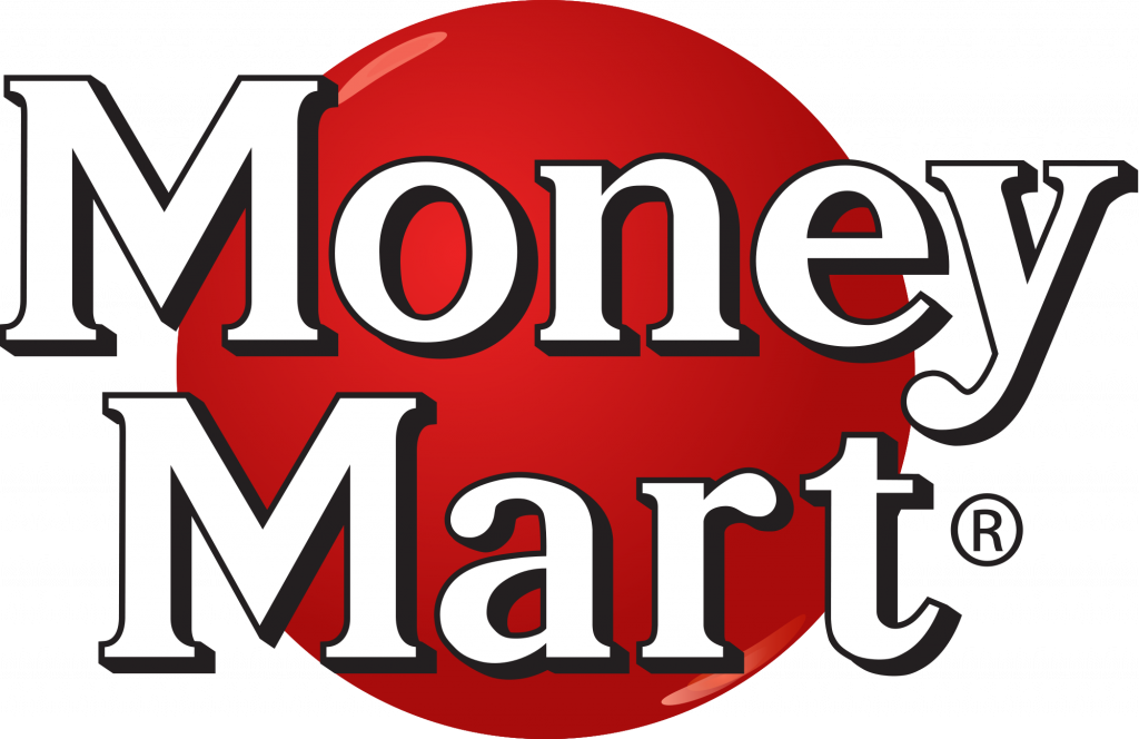 The words Money Mart in silohueted letters layed across a red circle